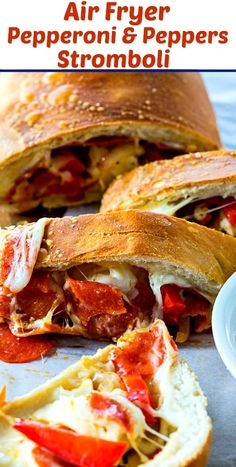 Air Fryer Pepperoni and Peppers Stromboli cooks up perfectly in just 13 minutes. Wonderfully crunchy on the outside with lots of cheese, pepperoni, and peppers. Air Fryer Recipes Breakfast, Air Fryer Oven Recipes, Air Frier Recipes, Air Fryer Deals, Pizza Pasta Bake, Stromboli Recipe, Air Fryer Recipes Stromboli, Pepperoni Rolls, Wing Recipes