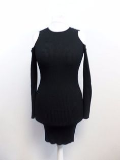2852a18256 Missguided Black Cold Shoulder Ribbed Mini Dress Size UK 12 Box47 45 C