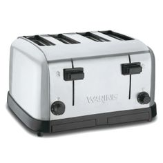 Model: The toaster has extra wide slots which will hold a variety of breads. Made by Waring. Four extra wide slots,great for bagels. Four self centering bread racks. Pop Up Toaster, Stainless Steel Toaster, Brushed Stainless Steel, Small Kitchen Appliances, Kitchen Items, Kitchen Small, White Toaster, Cooking Stores, Tape