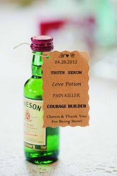 small whickey bottle wedding favour. Think this cute, I like the tag the most I think!! Great for make guests at a wedding abroad... Not to big and bulky to fly out x