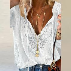 Summer Women Blouses Elegant V Neck Bottoming Long-sleeved Pink Shirt Lace Hook Flower Hollow Casual Shirts Blouse Plus Size 3XL Clothing Patterns, Dress Patterns, Lou Fashion, Fashion Outfits, Blouses For Women, Casual Shirts, Long Sleeve, Sleeves, Summer Clothes