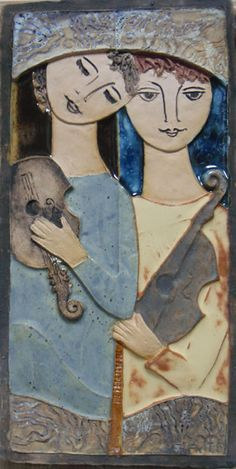 """""""Two Faces"""" by Ruth Faktor - The Ceramic Relief Tiles of Israeli. Modern Portraits, Handmade Tiles, Jewish Art, Sgraffito, Tile Art, Clay Creations, Clay Art, Ceramic Art, Art Forms"""