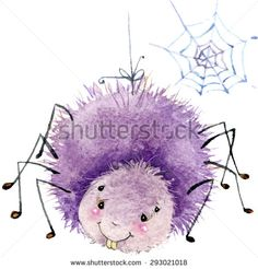 Cartoon insect spider watercolor illustration. isolated on white background.
