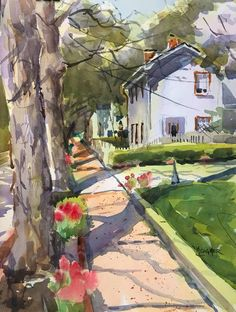 Original watercolor painting of a historic home and flowers in bloom in New Harmony, Indiana by plein air and studio artist, Spencer Meagher. You can have high quality prints of this colorful springtime painting on canvas and many other unique gift ideas, Watercolor Landscape, Watercolor Paintings, Watercolor Animals, Watercolours, Painters Studio, Acrylic Painting Tips, Outdoor Paint, Artist Art, Nature