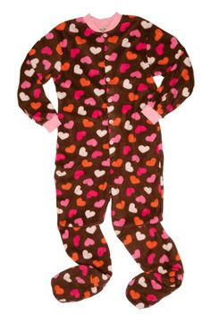 "These are sure to warm their hearts! Kids Big Feet Pajamas Chocolate Brown ""Hearts"" Fleece One Piece Footy $36 - SHOP http://www.thepajamacompany.com/store/kids-big-feet-pajamas-chocolate-brown-hearts-fleece-one-piece-footy.html"