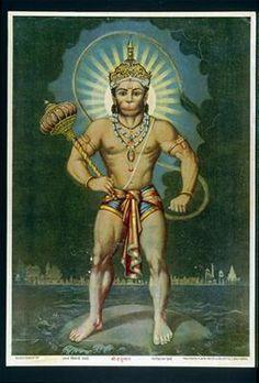 Indian monkey deity Hanuman, renowned for his courage, power & faithful selfless service century image) Hanuman Tattoo, Hanuman Chalisa, Krishna, Raja Ravi Varma, Indian Art Gallery, Lord Hanuman Wallpapers, Hanuman Images, Indian Art Paintings, Durga Goddess