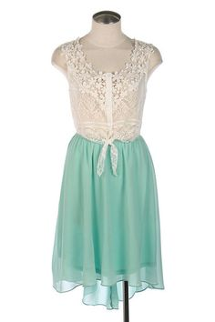 You'll look lovely in lace in this vintage inspired mint dress -$48