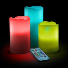 ThinkGeek :: Color-Change LED Candle Set with Remote 29.99