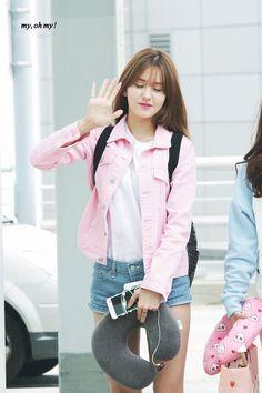 somi, ioi, and produce 101 image Jeon Somi, Kpop Fashion, Korean Fashion, Airport Fashion, South Korean Girls, Korean Girl Groups, Pink Denim Jacket, Kim Chungha, Choi Yoojung