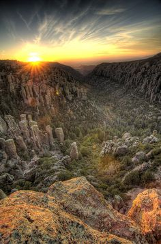 The sun sets on Echo Canyon in Chiricahua National Monument, AZ.