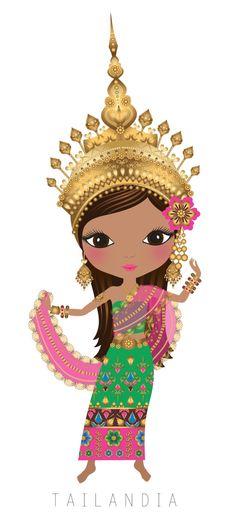 TAILANDIA - Clipart - Dibujos de Muñecas del Mundo