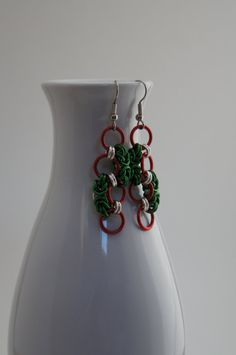 Red and Green Byzantine Chain Maille Earrings