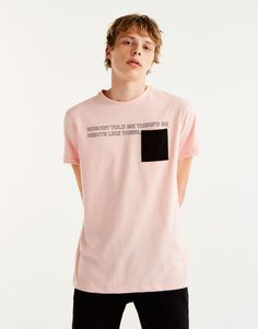 Pull&Bear - man - clothing - t-shirts - t-shirt with slogan and contrasting pocket - pink - 09234580-I2017