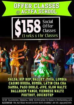 Dance Classes with Actfa Dance School. www.actfa.com @Actfa #Actfa #Dance #DanceSingapore #Salsa #SalsaSingapore #actfasingapore #bachata #tango #hiphop #jazz #ballet #chacha #dance #contemporary #swing #kizomba #zouk