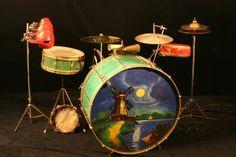 1920s Vintage Leedy Professional Drum Set Green Jade w/ Art Gold hardware