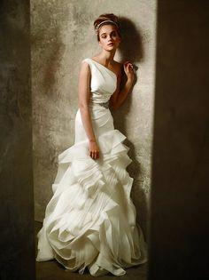 Vera Wang White collection vw351010  Asymmetric one shoulder trumpet wedding dress