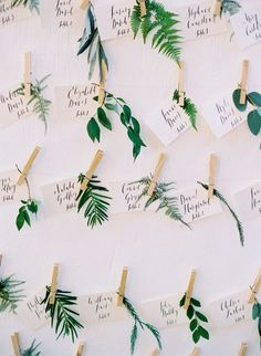 Summer wedding escort cards | Greenery escort cards