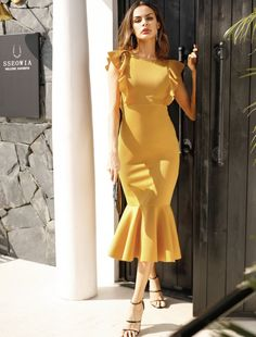 Ginger Solid Ruffle Trim Zipper Back Fishtail Dress Women Summer Cap Sleeve High Waist Flared Midi Dresses Size S Color Gold Satin Bodycon Dress, Satin Formal Dress, Ruffle Dress, Striped Dress, Ruffle Trim, Smock Dress, Ruffles, Mode Outfits, Dress Outfits