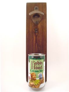 Vintage Robin Hood Cream Ale Wall Mounted Bottle Opener Beer Can Cap Catcher - Birthday, Groomsmen, Or Guy Gift by TexasTieDyeGuy on Etsy