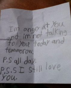 I know a kid wrote this, but the idea of being mad at but still loving you, is a beautiful concept really