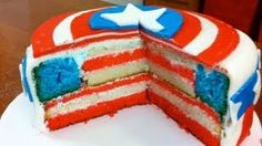 American Flag Cake for The of July Dessert by Cookies Cupcakes and Cardio Cupcakes, Cupcake Cakes, Cupcake Ideas, Food Cakes, Cake Pops, American Flag Cake, Captain America Party, Avenger Cake, Avengers Birthday