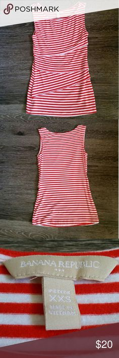 PETITE Banana Republic Red/White Sleeveless Top Brand: Banana Republic Size: XXS, Petite Fit: Slim fit Condition: Gently worn (worn <5 times), no tags, good condition Notes: Purchased in 2014 **Item comes from a pet free and smoke free home** ** All items are washed or ironed before sent** Banana Republic Tops Tank Tops