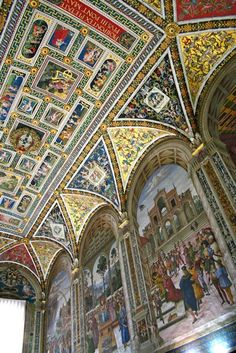 Piccolomini Library - Siena Cathedral. This room is housing precious illuminated choir books and frescoes painted by Pinturicchio illustrating the life of Enea Silvio Piccolomini, Pope Pio II.