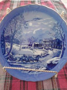 Set Of 4 Currier And Ives American Winter Scenes, Blue And White Plates on Etsy, $34.00