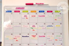from simple-dimples.com print menu labels on magnetic paper and make a menu calendar.  _MG_2601