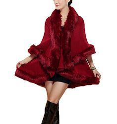 Women's Faux Fox Fur Shawl Cloak Coat- cape Cardigan Jacket (maroon)