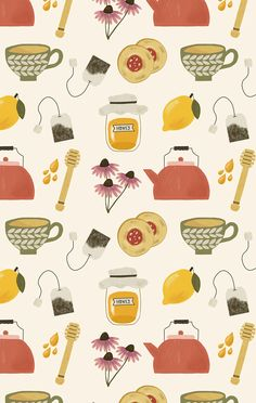 ohjessmarie is an independent artist creating amazing designs for great products such as t-shirts, stickers, posters, and phone cases. Tea Illustration, Pattern Illustration, Illustrations, Surface Pattern Design, Pattern Art, Print Patterns, Fall Wallpaper, Iphone Wallpaper, Lumiere Photo