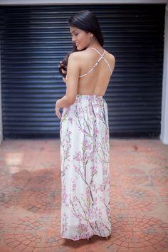 Floral Dress Cross Back Summer Style