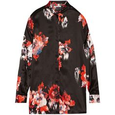 MSGM Printed silk-satin shirt ($234) ❤ liked on Polyvore featuring tops, black, loose fitting tops, cut loose shirt, msgm, black top and multi color shirt