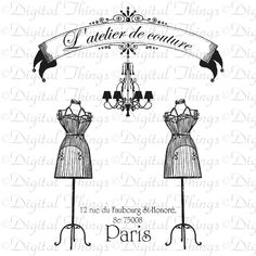 French Paris Dress Form Couture Fashion Chandelier Dress Mannequin Digital Download for Iron on Transfer Fabric Pillow Tea Towel DT682. $1.00, via Etsy.