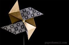 Traditional Origami Pinwheel Video Tutorial, Learn how to make an easy origami pinwheel! This traditional origami model takes only a few minutes, great as party decor for kids and grownups!   #pinwheel #traditional