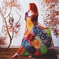 granny square crochet dress by Ruchki&kruchkI on Etsy Freeform Crochet, Crochet Granny, Irish Crochet, Crochet Lace, Crochet Style, Crochet Mandala, Crochet Skirts, Crochet Clothes, Crochet Designs