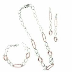 """Italian.925 Sterling Silver Rosegold Layered Textured 2.5 Earring Bracelet and 16"""" Necklace Set Silver Empire Jewelry. $99.99. Made in Italy 7.5"""" Bracelet. Rosegold Rhodium Plating Nickle Free. Gift Wrap. Made in Italy 2.5"""" Dangle Earring Post. Made in Italy 16"""" Necklace"""