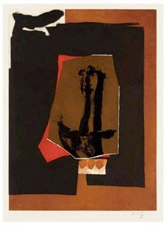 Robert Motherwell, U, from The Alphabet Series, Unique mixed media collage with aquatint and lift-ground, etching, 1986.