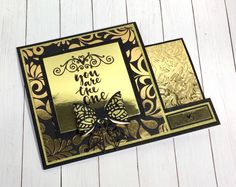 Elegant  handmade cards are just a few easy steps away with Black and Gold collection from #crafterscompanion. Card made by Design Team member Judy VanZandt