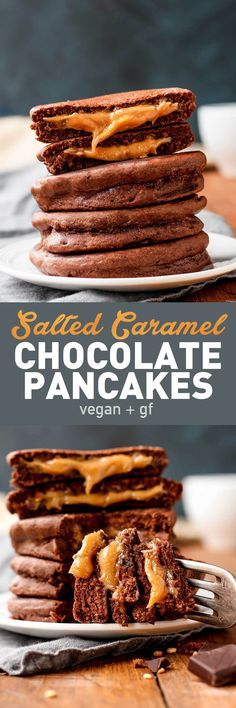 GF Very healthy Salted Caramel (almond butter, maple syrup, and salt) Chocolate Pancakes (oat flour and almond meal)