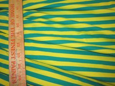 Green and Yellow apx. 3/8 Cotton Lycra STripe Knit