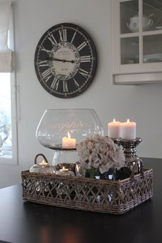 Love this as a centerpiece idea, living room decor, candles, DIY decor, home dec. Coffee Table Styling, Decorating Coffee Tables, Tray Styling, Table Centerpieces, Table Decorations, Decoration Shabby, Deco Table, Tray Decor, Living Room Decor