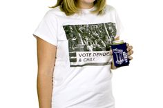 "Our ""Vote Democrat & Chill"" t-shirt is printed on pre-shrunk cotton (right here in the USA). Perfect for voting for Democrats, perfect for chilling. Democratic Party, Chilling, Printed, Usa, Cotton, Mens Tops, T Shirt, Style, Fashion"