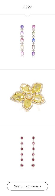 """МАША"" by katya-ukraine on Polyvore featuring jewelry, earrings, earrings jewelry, multi colored sapphire earrings, cabochon earrings, 18k earrings, floral drop earrings, rings, canary diamond jewelry и floral ring"