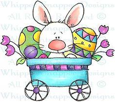 Bunny eggs Cart painted rock idea
