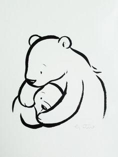 Original brush pen illustration mama and by LittleCupCreations