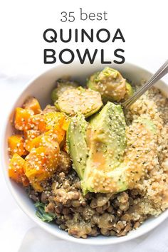 A collection of the 35 BEST quinoa bowls! With all types of cuisine and all types of meals there is sure to be a quinoa bowl for everyone. Easy homemade vegan vegetarian gluten-free quinoa recipes with black beans vegetables you name it! Quinoa Recipes Easy, Veggie Recipes, Healthy Dinner Recipes, Vegetarian Recipes, Vegan Vegetarian, Cookie Recipes, Mushroom Recipes, Vegan Meals, Quick Recipes