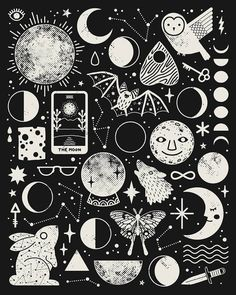 Lunar Pattern: Eclipse Artwork Print by Camille Chew - X-Small Arte Sketchbook, Ouvrages D'art, Witch Aesthetic, Aesthetic Black, Tumblr Wallpaper, Art And Illustration, Black And White Illustration, Doodle Art, Framed Art Prints