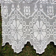 Items similar to Vintage Bedspread Hand Crochet Hand Handmade Off White Cotton Four Poster Cut Lace on Etsy Crochet Trim, Filet Crochet, Hand Crochet, Crochet Lace, Vintage Bedspread, Four Poster Bed, Linen Napkins, Bed Spreads, White Cotton