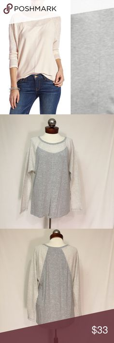 🆕 LUCKY BRAND Lotus Swit Mix Pullover New, unworn condition; tags attached. Color is heather gray/ cream. Modeled photo is to show fit.  Lightweight terry lined viscose jersey with textured sleeves.  Bust 38 length 28 Lucky Brand Tops Blouses